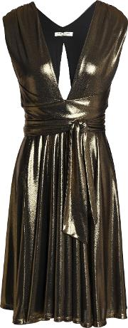 belted gathered lame dress