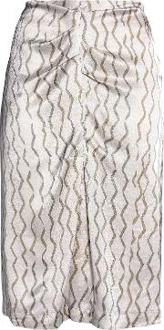 ruched printed hammered silk skirt
