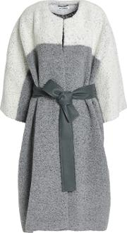 belted two tone wool blend boucle coat