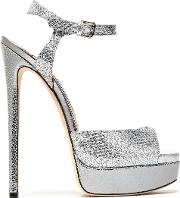 glittered smooth and textured leather platform sandals