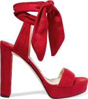 Kaytrin Suede Platform Sandals Red