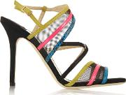 Visby Mesh, Suede, Patent Leather And Elaphe Sandals Black