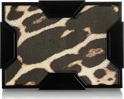 Space Leopard Print Leather Box Clutch Leopard Print