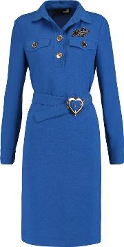 Abito Belted Appliqued Crepe Dress Azure