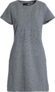 embossed french cotton blend terry mini dress
