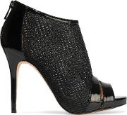 Macbeth Patent Leather Trimmed Mesh Ankle Boots Black