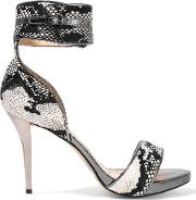 Thesus Snake Effect Calf Hair Sandals Chocolate
