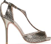 Titania Crystal Embellished Jacquard And Suede T Bar Sandals Gold