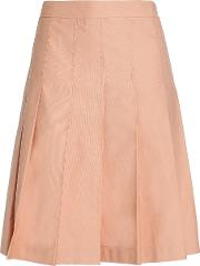 pleated cotton and linen blend twill skirt