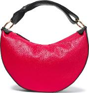 two tone textured leather shoulder bag