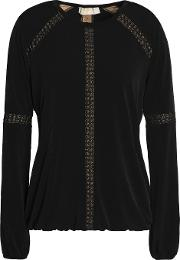 lace trimmed stretch jersey blouse
