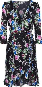 audrey floral print silk crepe de chine mini dress