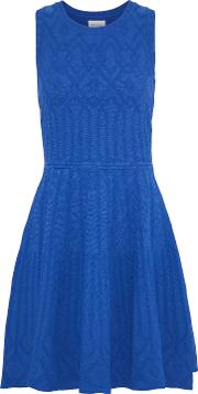 flared jacquard knit mini dress