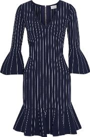 fluted pinstriped stretch knit mini dress