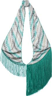 fringe trimmed printed knitted scarf