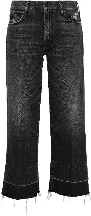 cropped distressed high rise tapered jeans