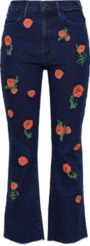 cropped embroidered high rise bootcut jeans