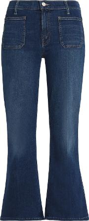 cropped high rise kick flare jeans