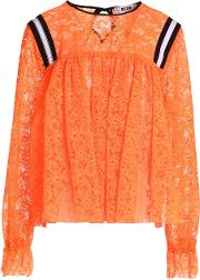 gathered neon lace blouse