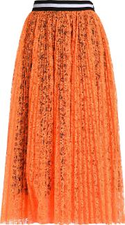 pleated neon lace midi skirt