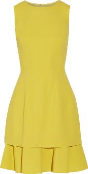 Ruffled Stretch Wool Blend Crepe Dress Chartreuse