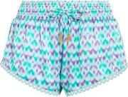Paloma Crochet Trimmed Printed Silk Satin Shorts Turquoise