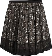 embroidered organza mini skirt