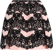 flared flocked faille mini skirt