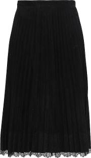 lace trimmed pleated suede midi skirt