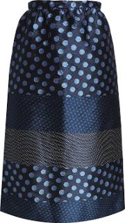 paneled polka dot jacquard midi skirt