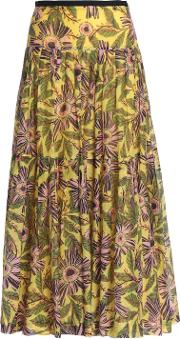 pleated floral print cotton and silk blend mousseline maxi skirt