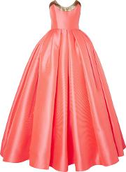 strapless lame trimmed satin jacquard gown