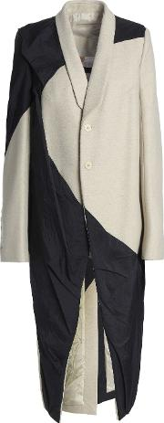 paneled wool blend and shell coat