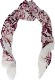 frayed printed modal and silk blend scarf
