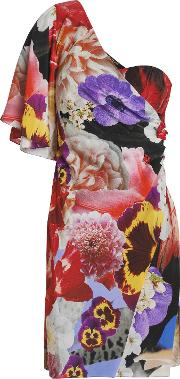 one shoulder embellished floral print silk crepe de chine mini dress