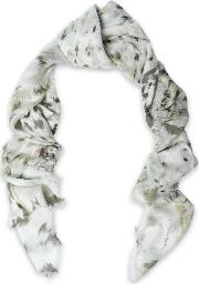 printed modal and silk blend scarf
