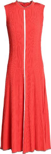 cutout pleated knitted midi dress