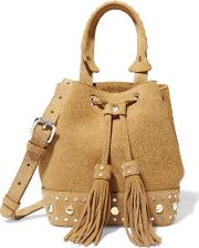 Studded Suede Shoulder Bag Light Brown