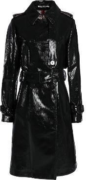 coated cotton blend trench coat