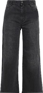 cropped high0 rise wide leg jeans