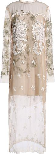 embellished tulle gown sand