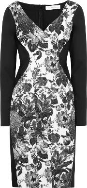 paneled floral print cotton blend and stretch crepe dress