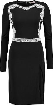 Maci Embellished Stretch Jersey Dress Black