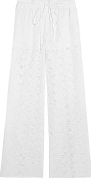 cotton blend broderie anglaise wide leg pants