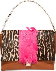 Feather Trimmed Leather And Leopard Print Calf Hair Shoulder Bag Leopard Print