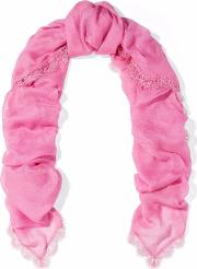lace trimmed modal and cashmere blend scarf