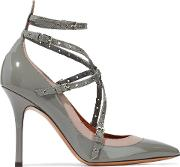 love latch eyelet embellished matte and patent leather pumps