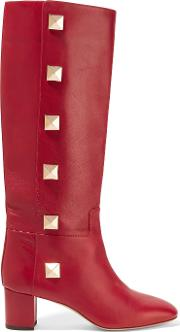 Rockstud Leather Knee Boots Claret