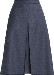 pleated brushed wool skirt