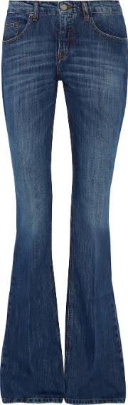 Mid Rise Flared Jeans Dark Denim